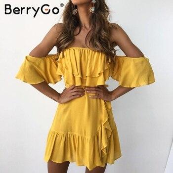 99ec68e4d86 BerryGo кружевное платье с поясом и рюшами сексуальное черное платье с  открытыми плечами с открытой спиной