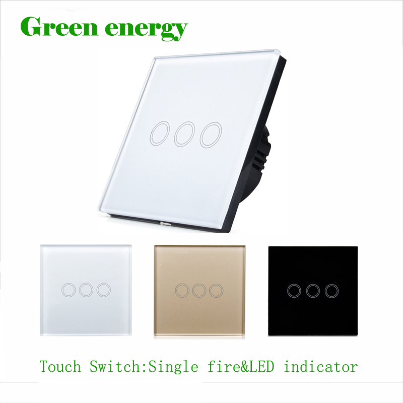 EU/UK Standard  Touch Switch 3 Gang 1 Way white/black/Golden,Glass panel switch,Waterproof and durable,Wall Light Touch Switch smart home eu touch switch wireless remote control wall touch switch 3 gang 1 way white crystal glass panel waterproof power