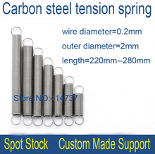 10pcs 0.2*2*220mm--280mm 0.2mm wire Carbon steel extension tension spring springs OD=2mm