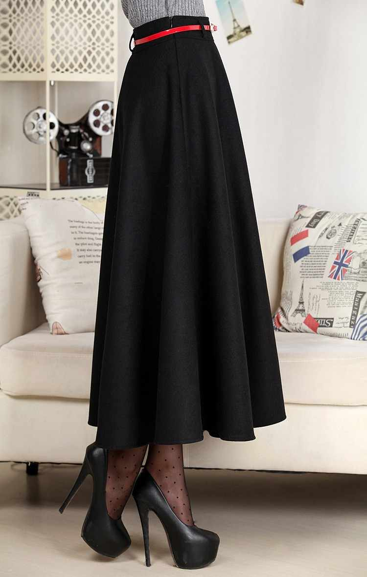 71c4155bab08f9 ... 7XL Plus Size 2019 Spring High Quality Autumn&Winter Maxi Long Women  A-line Pleated Wool ...