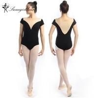 New Adult Short Sleeve Ballet Dance Leotard With Beige Low V Front Gymnastic Leotard Women Ballet