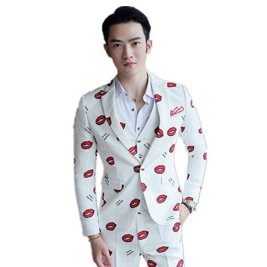 Fit 6 Nouveau Pièce Hommes 4 Costumes Slim Lèvres 2 3 Mens 3 Rouge Fleur Blanc 1 À Tenues 5 TqxfFqwI