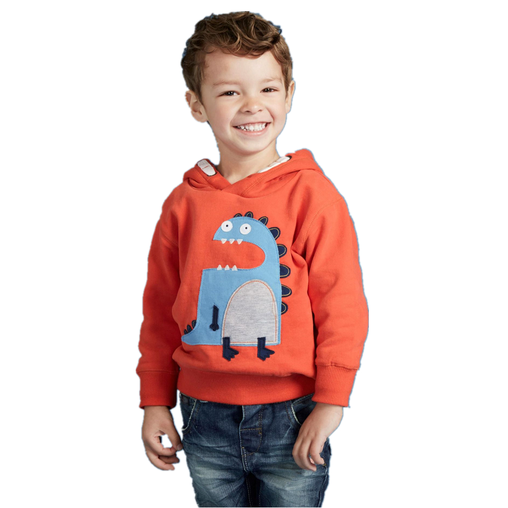 2-7T Kids Hoodie Boys 3D Embroidered Dinosaur Hoodie 2018 Boys Hooded Pullover Winter Thick Cotton Animal Hoodies Children