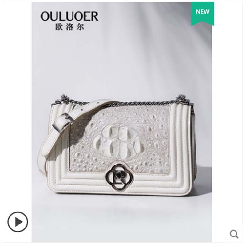 ouluoer Thai crocodile leather single shoulder bag diagonal cross chain bag xiao xiangfeng leather lady bag white small square bouluoer Thai crocodile leather single shoulder bag diagonal cross chain bag xiao xiangfeng leather lady bag white small square b