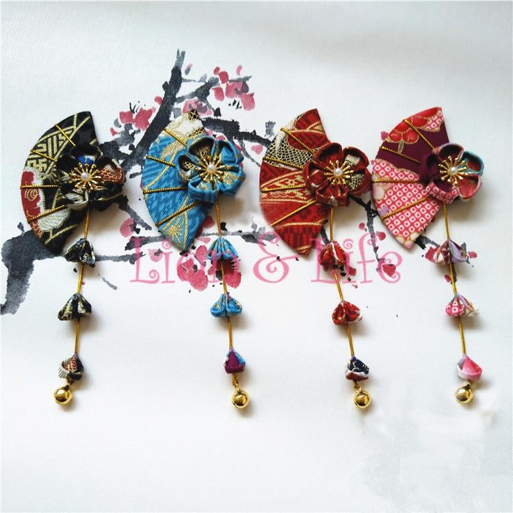 Japanischen kimono Yukata Blume Fan Rattan Headwear Haar Clip Haripin Quasten Glocke