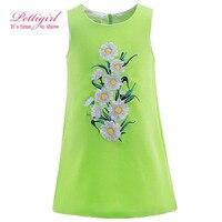Pettigirl Summer Dress Girls Girl Embroidery Vest Clothes Green Dresses Kids Clothing Retail GD90307-671F