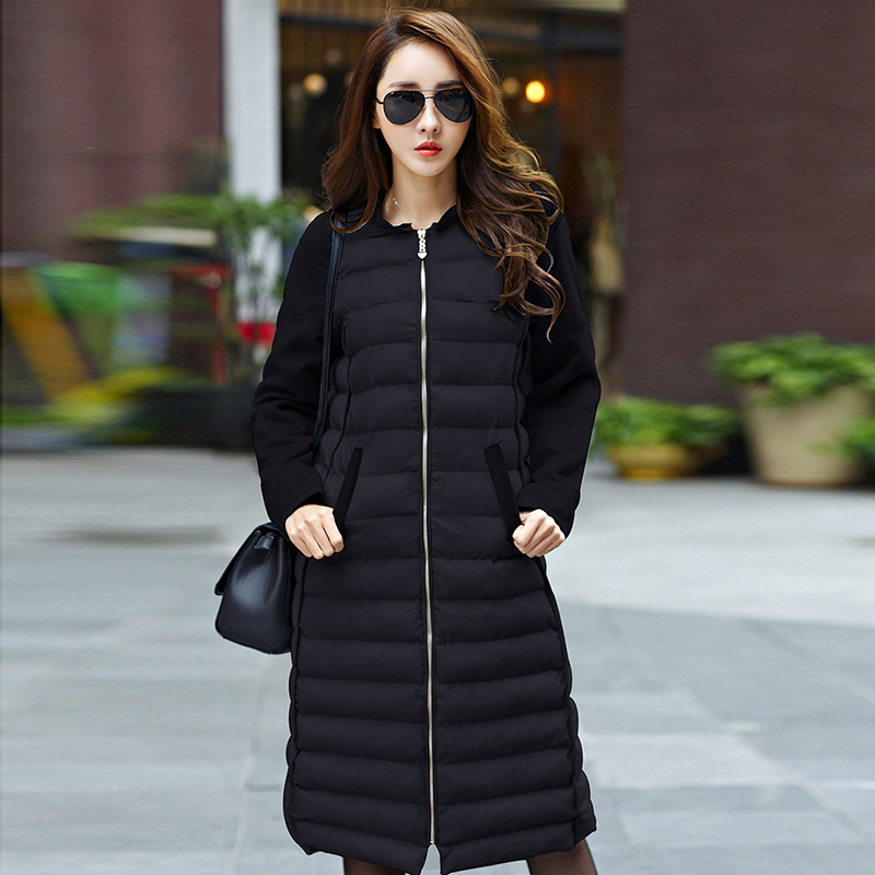 2016 Korean Female Long Cotton Jacket Winter Thick Hooded Wool Over Knee Slim Coat Plus Size Padded Warm Parkas A3941