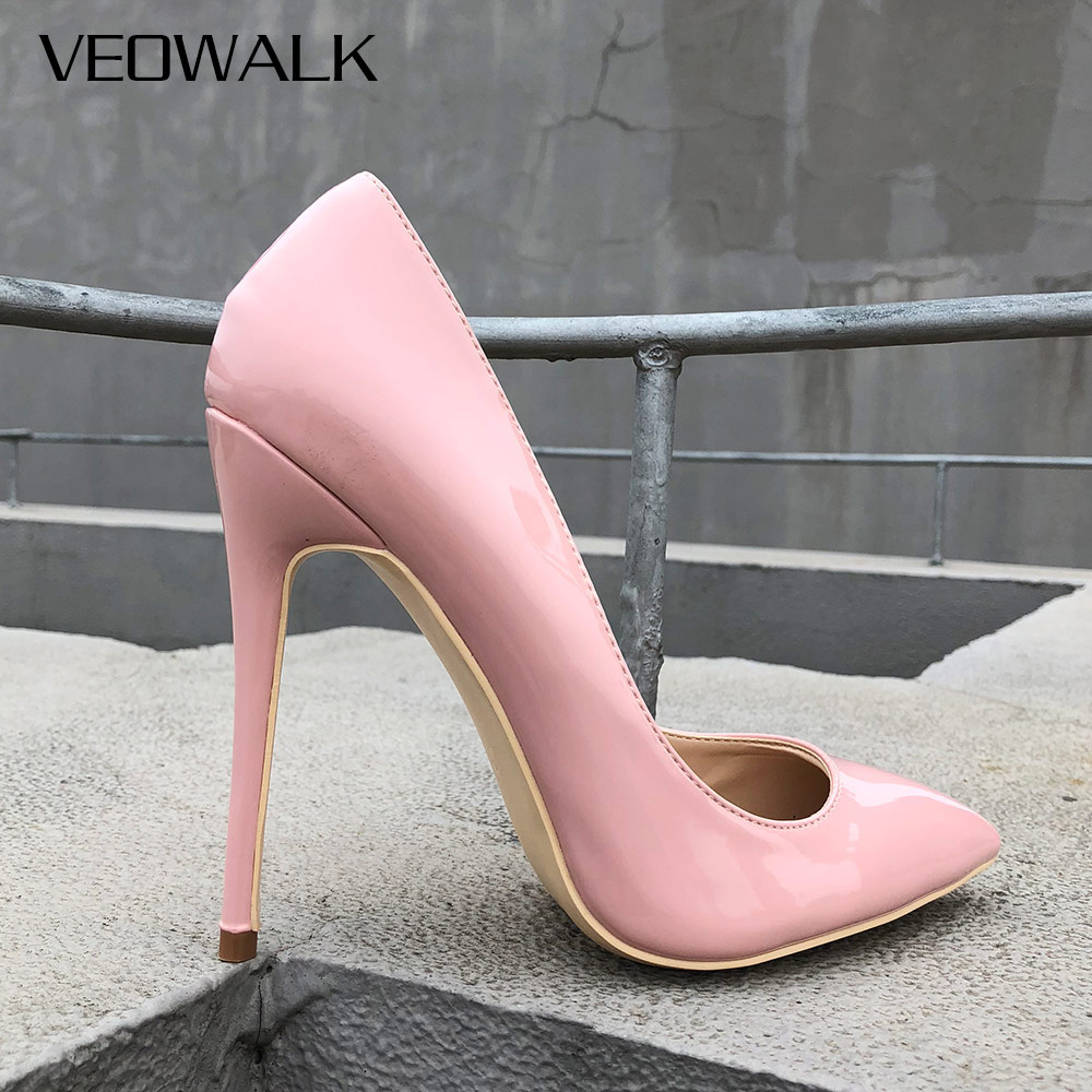 Veowalk Italian Classic Paten Leather Women Stiletto High Heels Pink Ladies Party Pointed Toe Pumps Shoes Color Customize AcceptVeowalk Italian Classic Paten Leather Women Stiletto High Heels Pink Ladies Party Pointed Toe Pumps Shoes Color Customize Accept