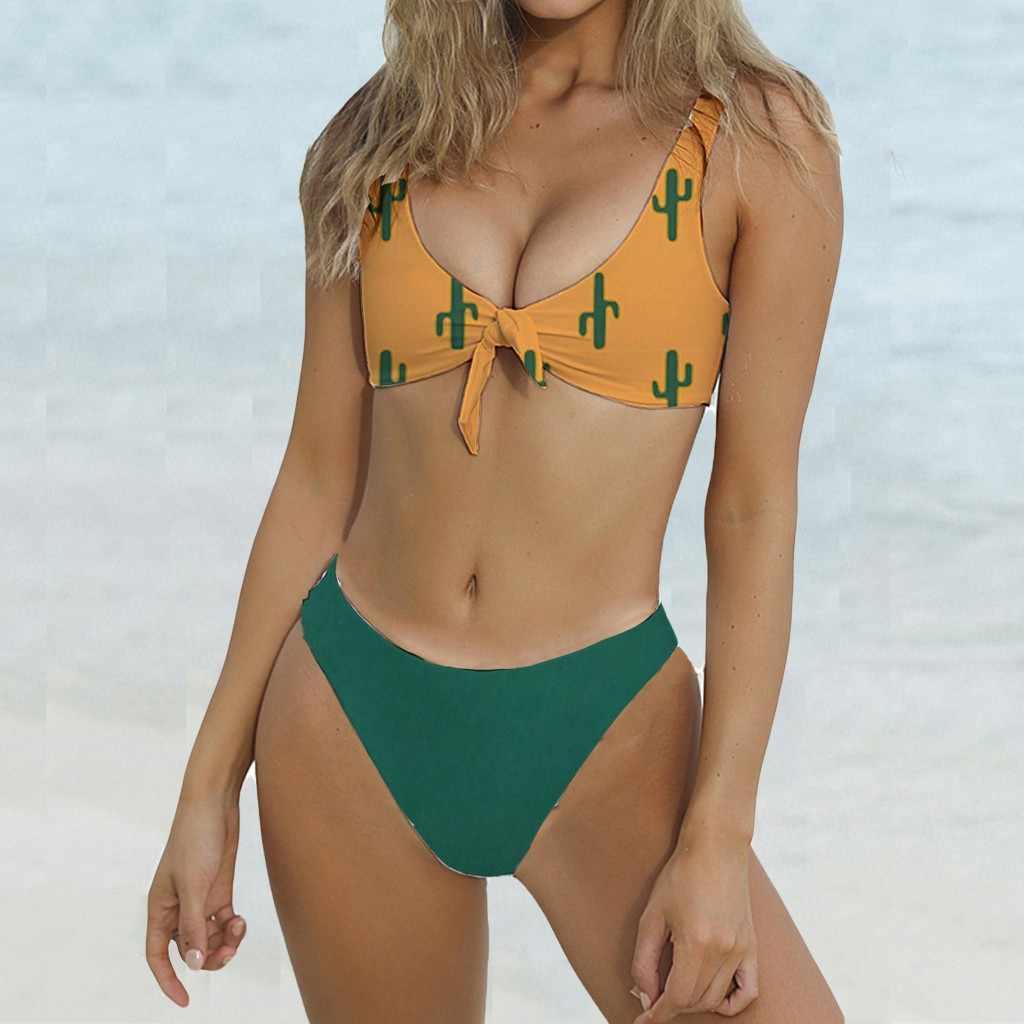 ccd3acf64f Bikinis 2019 Mujer Swimwear Women Tie Front Push Up Padded Bikini set Sexy  High Leg Biquini