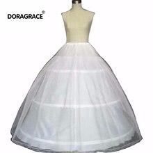 Doragrace 3 Hoop White Petticoat Crinoline Underskirt for bridal Wedding Dress Gown