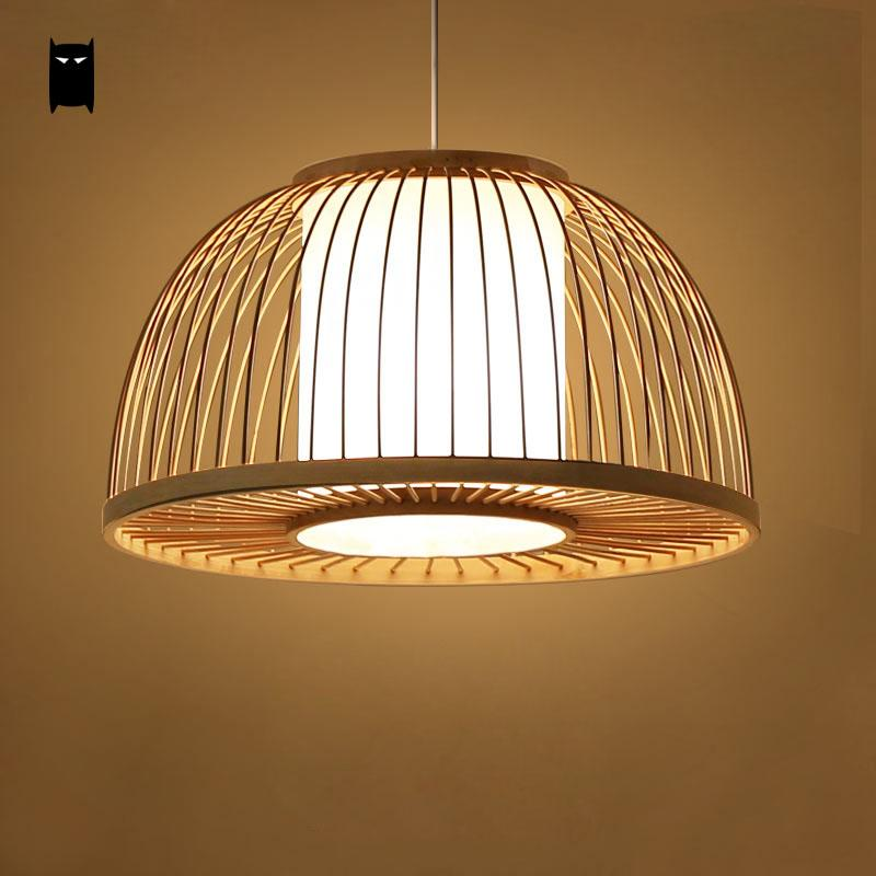 round bamboo wicker rattan shade cover pendant light cord fixture nordic asian japanese tatami. Black Bedroom Furniture Sets. Home Design Ideas