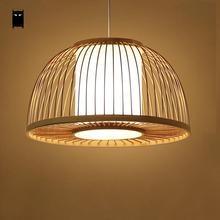 Runde Bambus Wicker Rattan Schatten Abdeckung Pendelleuchte Kabel Leuchte Nordic Asian Japanese Tatami Lampe Design Esstisch Zimmer