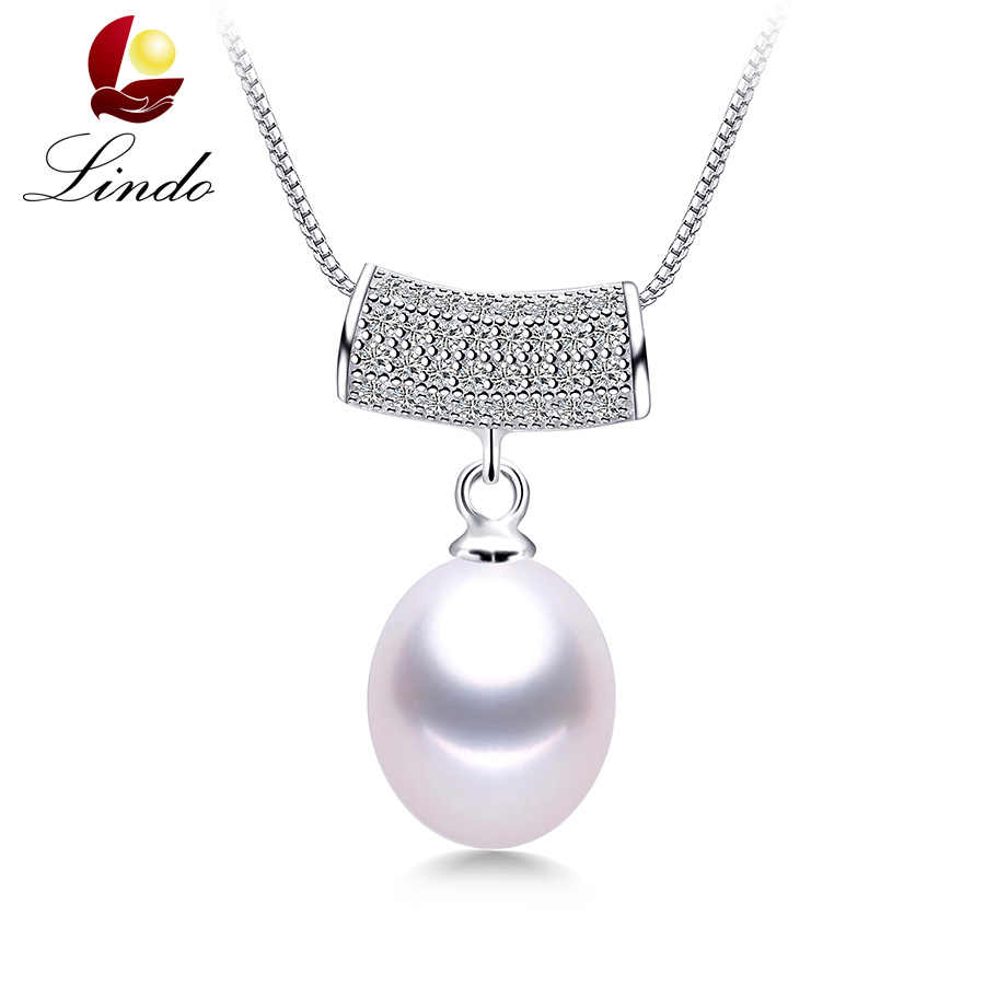 LINDO High Quality 925 sterling silver pendant necklace for women AAAA top quality freshwater pearl jewelry 3 colors