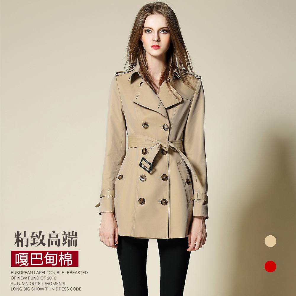 2017 New spring Autumn Trench Coat For Women Double Breasted Trench Coat kaki red slim L ...