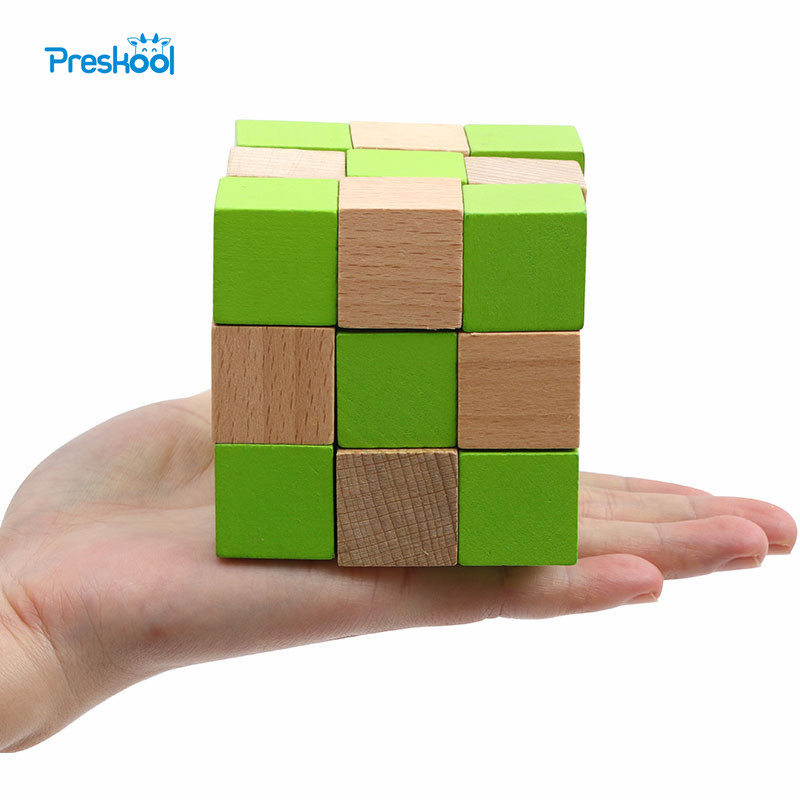 Preskool IQ Brain Teaser Wooden Cube 3D Puzzles Toy For ...