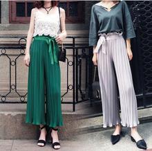 New summer wide-legged pants fungus falbala tall waist chiffon pleated women loose nine point leisure trousers