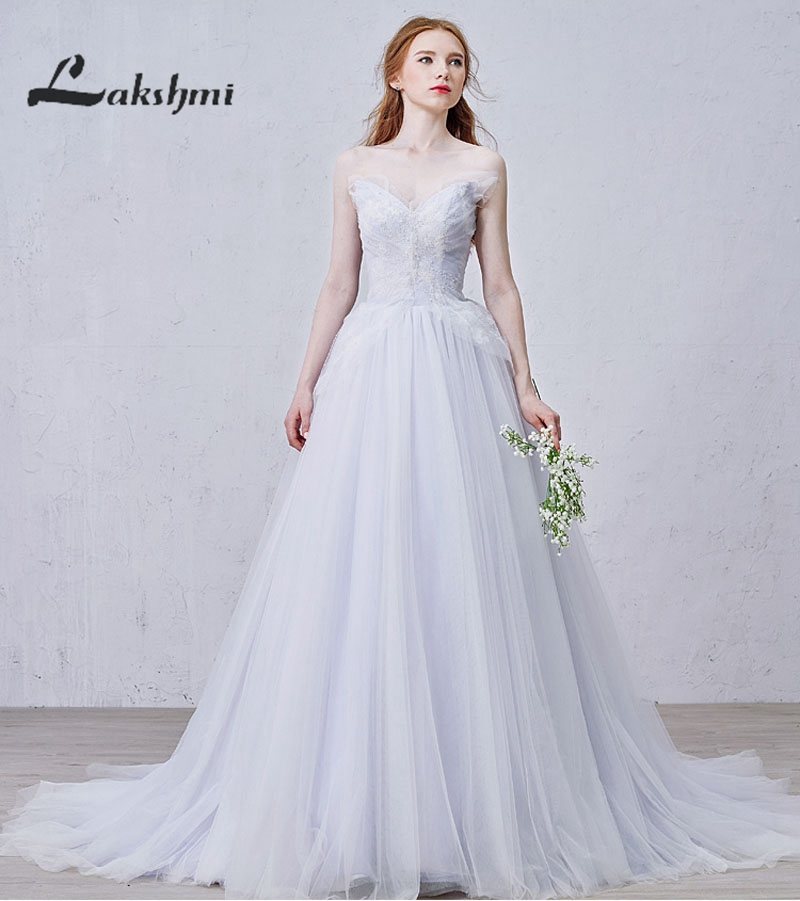 Online Shop Elegant Butterfly Strapless Lilac Wedding Dresses A-line ...
