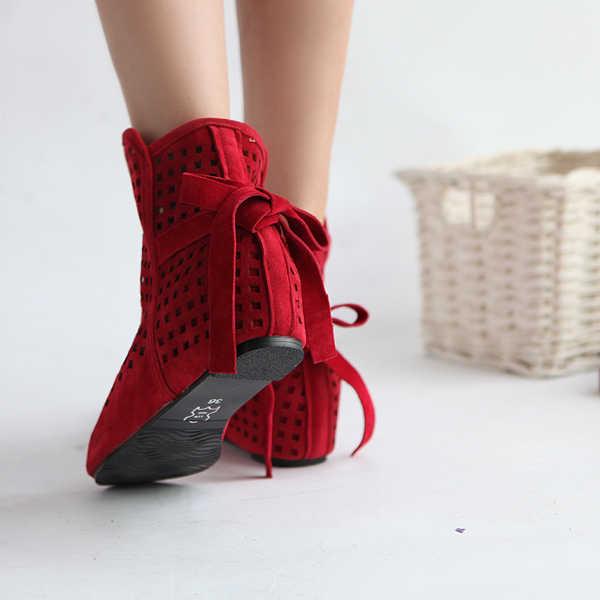 Tamaño 34-43 botas de mujer verano lindo Flock plano bajo oculto cuñas sólidas recortadas tobillo botas señoras vestido Casual zapatos 3 colores