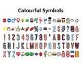 Letras de colores de Símbolos y Glifos y Números de Tarjetas, Para A4 Tamaño de Cine Lightbox (Incluye 85 unids)