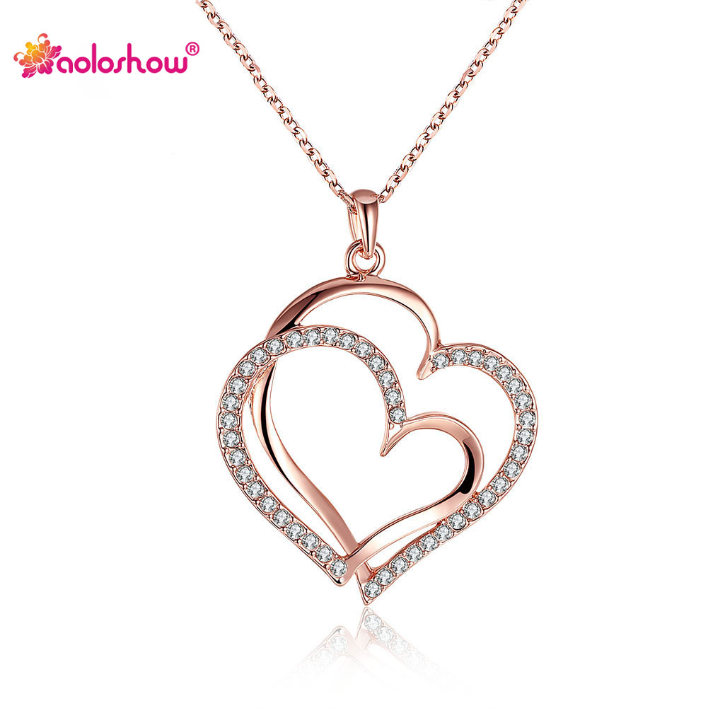 AOLOSHOW Rose Gold Color Double Heart Necklace Pendant Stellux Austrian Crystal Copper Alloy Silver Color Wedding