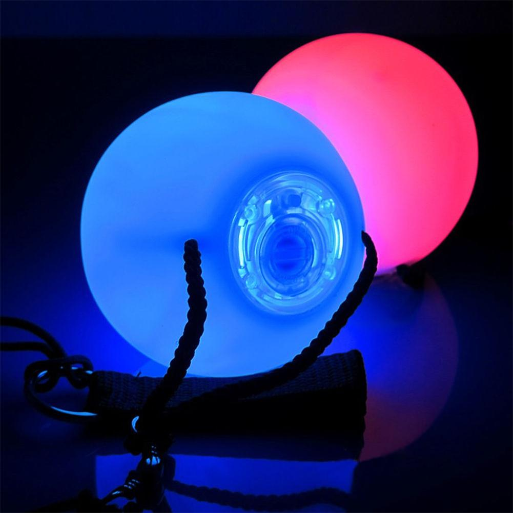 1 Pair Spinning LED POI Thrown Balls Light Toy For Professional Belly Dance Hand
