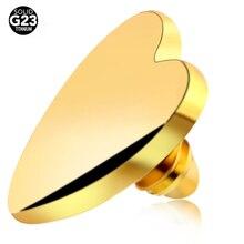 1 ШТ. Titanium Кожные Микро Пирсинг Золото Форме Сердца Кожные Пирсинг Вершины Skin Diver Пирсинг Поверхности Скрыть это Сексуальное Тело ювелирные изделия