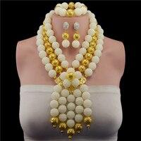 NEW acrylic beads making choker african Nigeria Wedding beads jewelry set statement necklace sets for women
