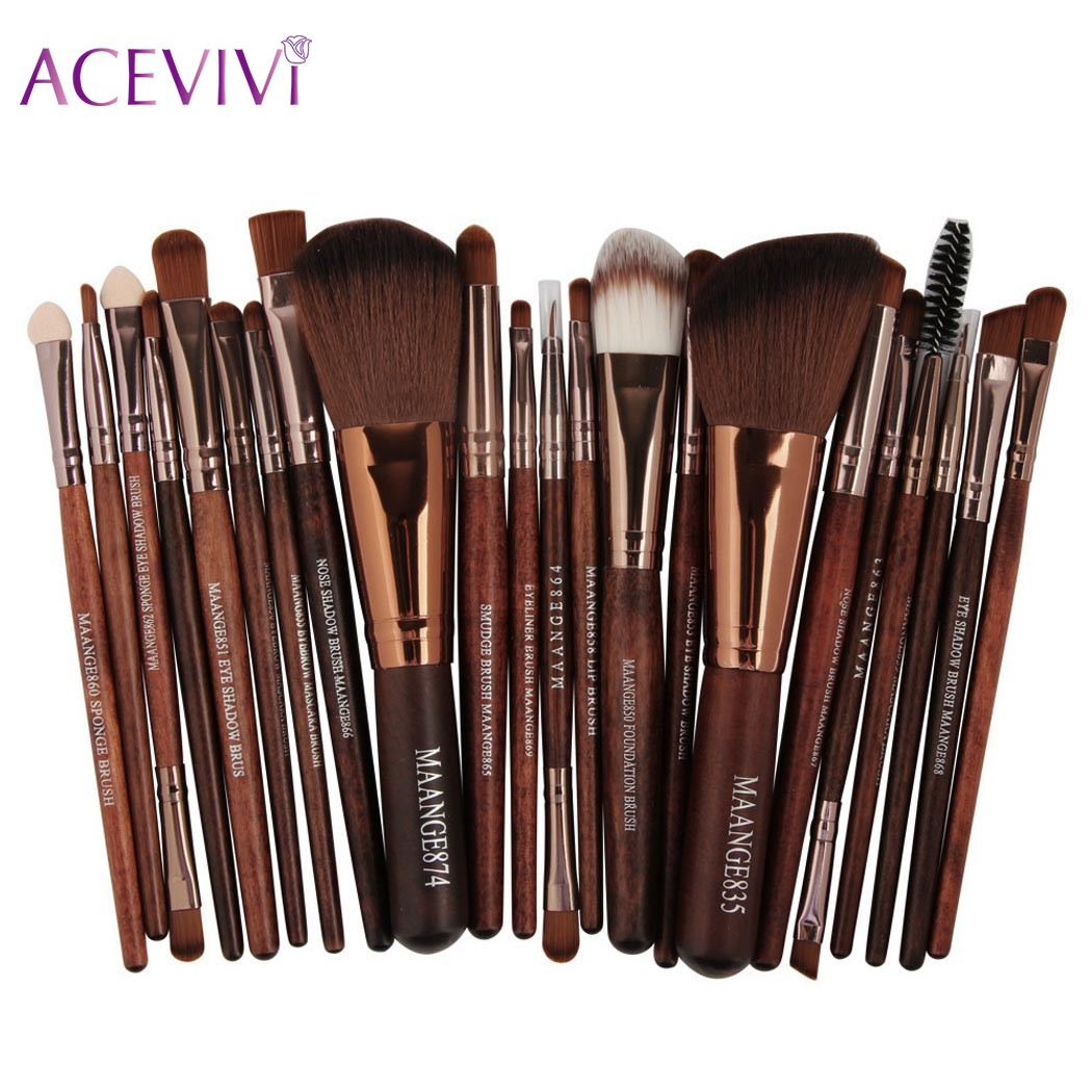 ACEVIVI Professional 22pcs Makeup Brushes Cosmetic Set Powder Foundation Blush Eyeshadow Eyeliner Lip Beauty Make up Brush Tools 25pcs makeup brushes set woodcolor nylon eye foundation powder eyeshadow eyeliner blush brush make up cosmetic tools kit bag