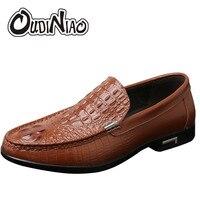 OUDINIAO British Crocodile Design Mens Loafers Italian Split Leather Classic Dress Slip On Casual Black Fashion Luxury Men Shoes