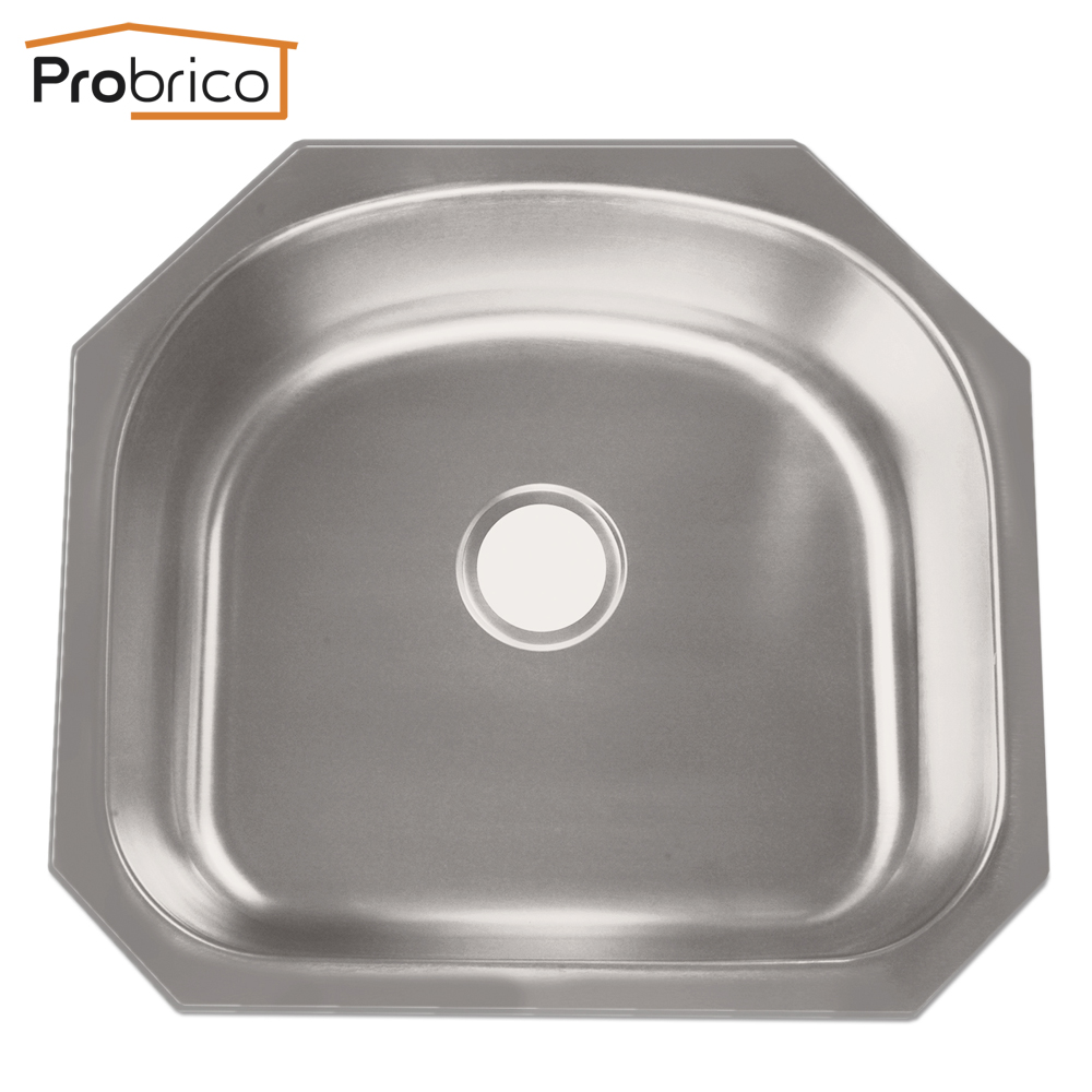 Probrico Kitchen Sink CUPC Brushed Stainless Steel KS6054ABS Single Bowl Undermount 23 5/8x21 1/4x9 USA Domestic Delivery swanstone dual mount composite 33x22x10 1 hole single bowl kitchen sink in tahiti ivory tahiti ivory