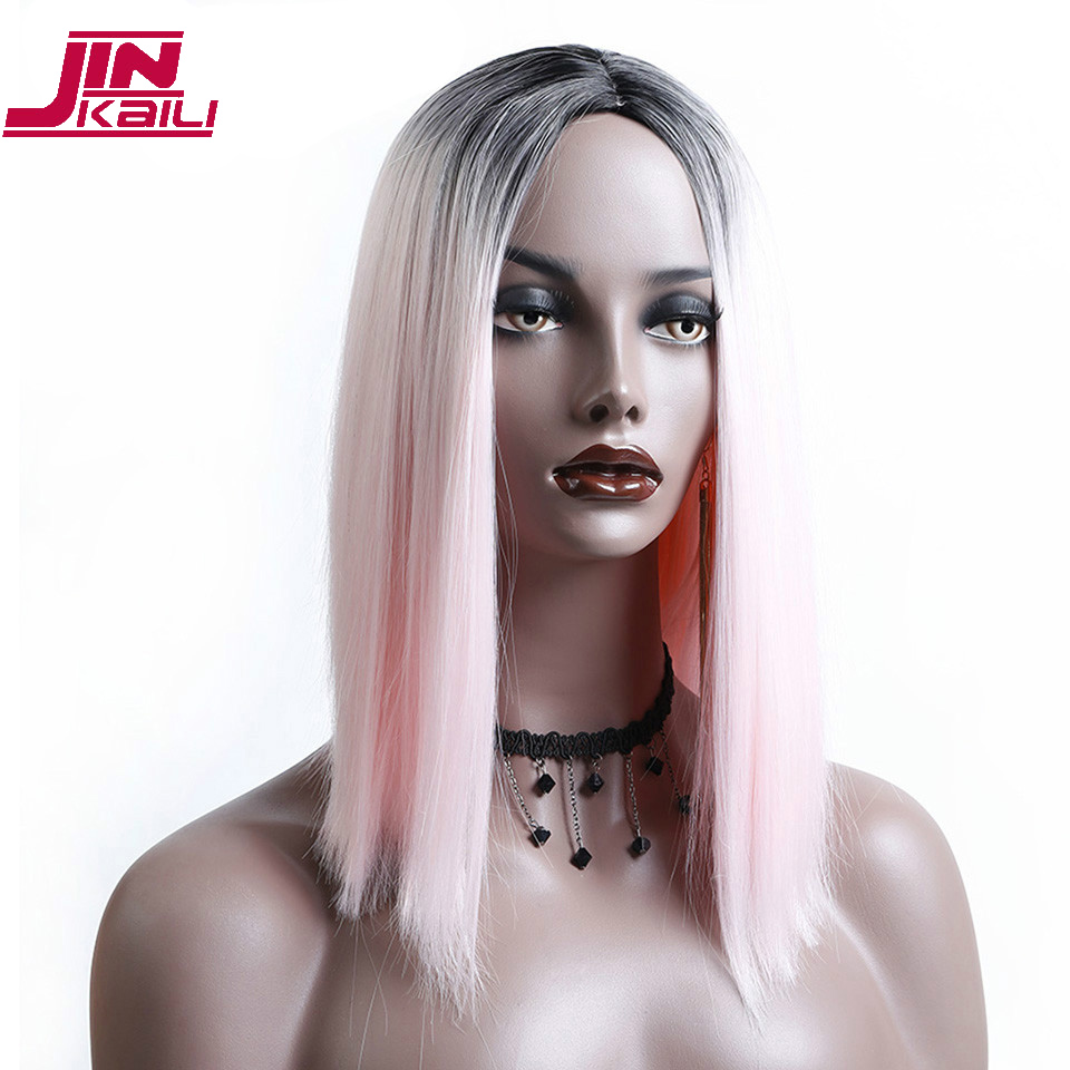 JINKAILI Ombre Pink Black Short Straight Heat Resistant Synthetic Hair Wig For Black/White Women Cosplay Party Bob Wigs