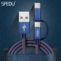 SPEDU 2in1 Micro USB Type C Cable For Samsung Galaxy S9 S8 Plus Xiaomi Type-C Charging Cable For iphone xr xs max x 7 8 plus 6s