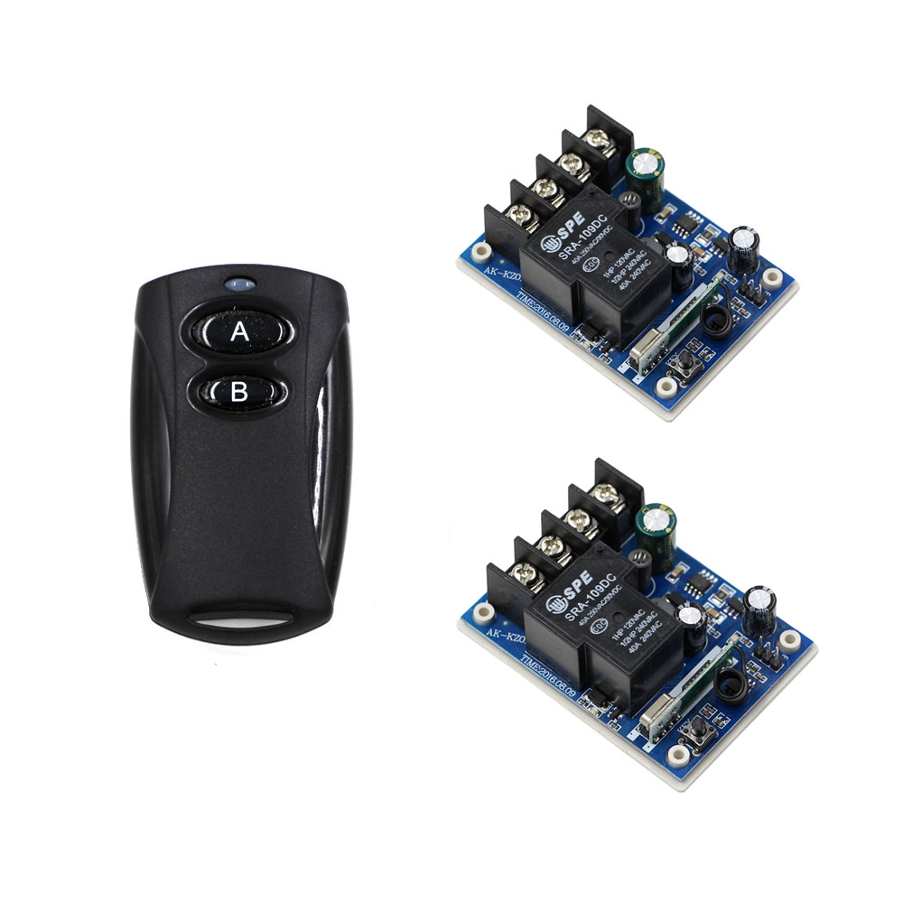 Wireless DC12V-48V 30A Relay Remote Control Switch Transmitter with 2 Receiver Light Switch For Smart Home High Quality high quality 1 2 3 channel wireless remote control switch digital remote control switch receiver transmitter