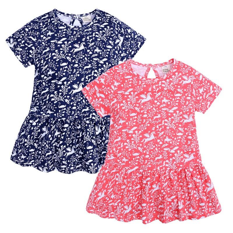 2019 Summer Girls Dress Children Kids Dresses Floral Print Kids Clothes