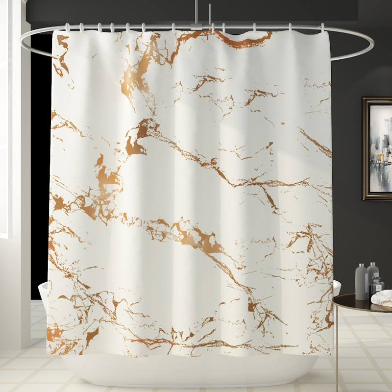 Занавеска для душа с мраморным принтом, 4 шт., покрытие для ковра, покрытие для унитаза, набор ковриков для ванной, занавеска для ванной комнаты с 12 крючками