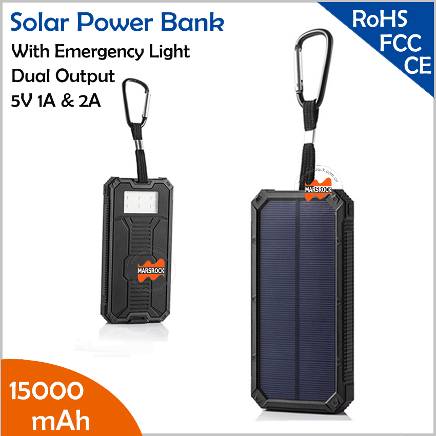 New 15000mAh high capacity Li-polymer battery Dual USB output 5V 1A & 2A Solar Power Bank with hook, LED light, SOS function стоимость