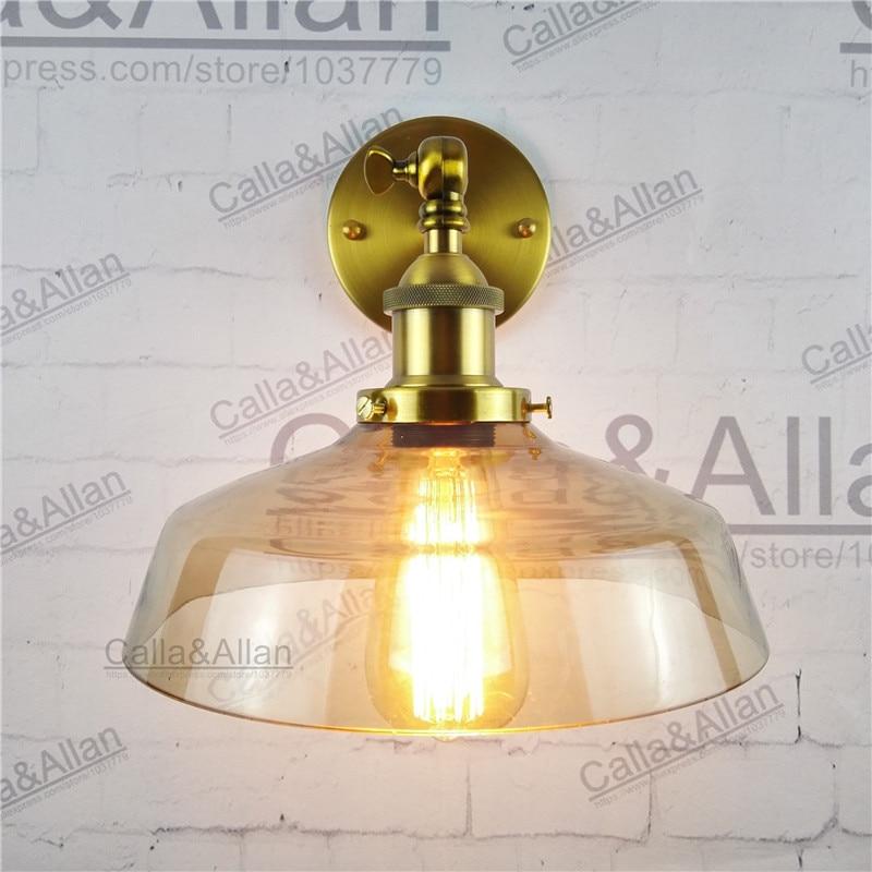 D245mm amber glass lampshade brass holder wall loft light E27 AC110V/220V beside sconce antique brass wall lamp industrial amber glass lampshade round ball brass wall lamp e27 ac110v 220v beside sconce antique brass wall light up and down industrial