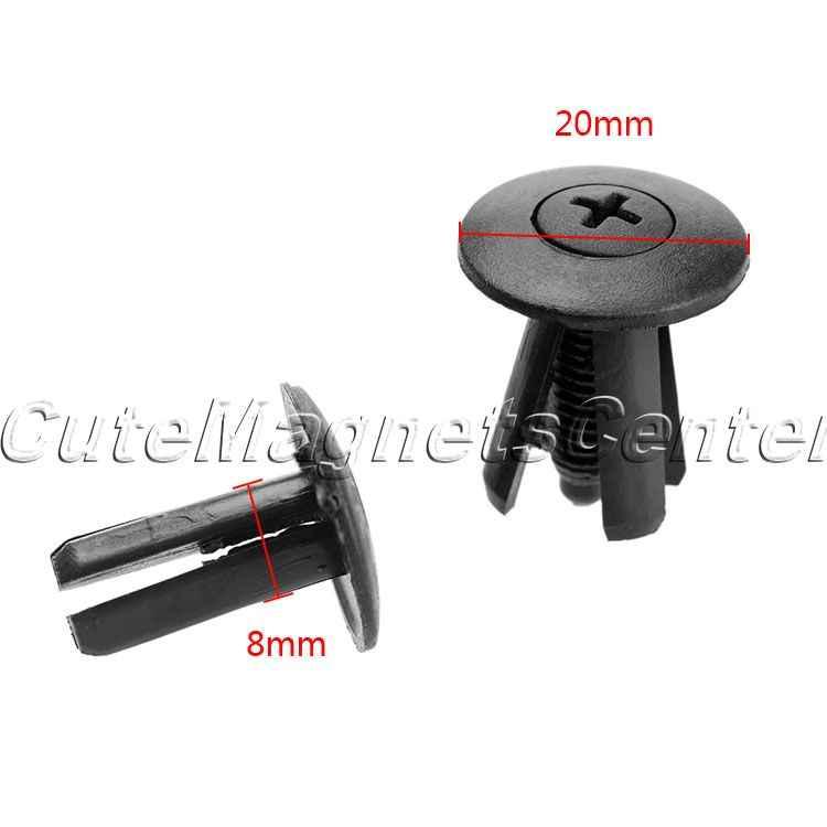 20x 8mm Plastic Trim Push Rivet Pin Clips Fastener Bumpers Panel Sills Arch Door