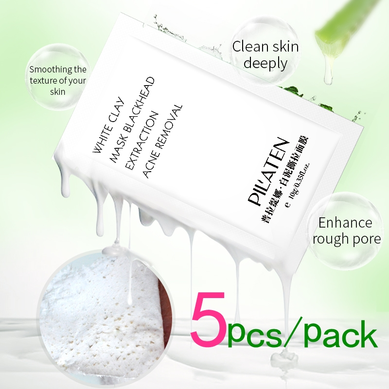 Pilaten Official Store Face Mask 5pcs PILATEN White Clay Blackhead Extraction Acne Removal 10g