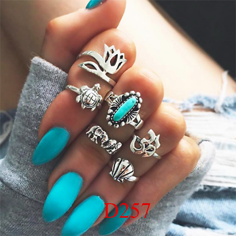 HTB1AIemQVXXXXXkaXXXq6xXFXXXr 11-Pieces Boho Chic Spirituality Silver Plated Antique Stackable Ring Set - 9 Sets