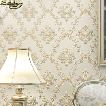 beibehang European fine Damascus wallpaper bedroom living room TV background Embossed 3D Luxury Damask Wall paper Roll flooring girls bedroom embossed wallpaper pink background wall 3d wallpaper pvc roll classic flower wall paper peony floral wall covering