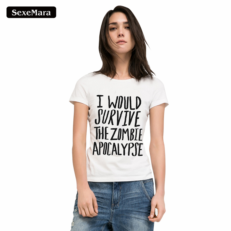Sexemara Punk Fashion Letter Print T Shirts Women 2017 Summer Style