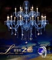 Blue Crystal Chandelier Lightings Fixture Modern Hanging Lamps HomeLiving Room Dining Bedroom Large Luxury K9 Cristal Lustres de