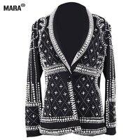 Высокое качество Для женщин Блейзер, куртка s 2018 Новая Мода Париж дизайнеры марки украшенные бисером Блейзер, куртка Feminino Женская одежда