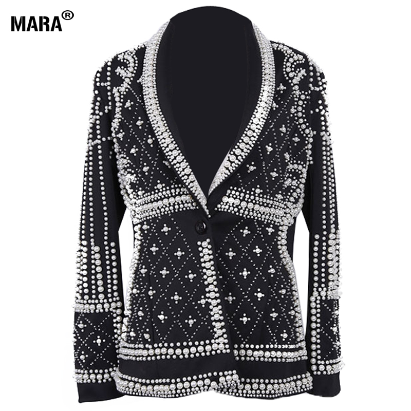 High Quality Women Blazer jackets 2018 new Fashion Paris Brand Designers Beaded Embellished Blazer jacket Feminino Woman Clothes