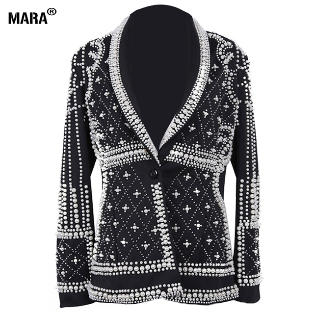 High Quality Women Blazer jackets 2016 new Fashion Paris Brand Designers Beaded Embellished Blazer jacket Feminino Woman Clothes