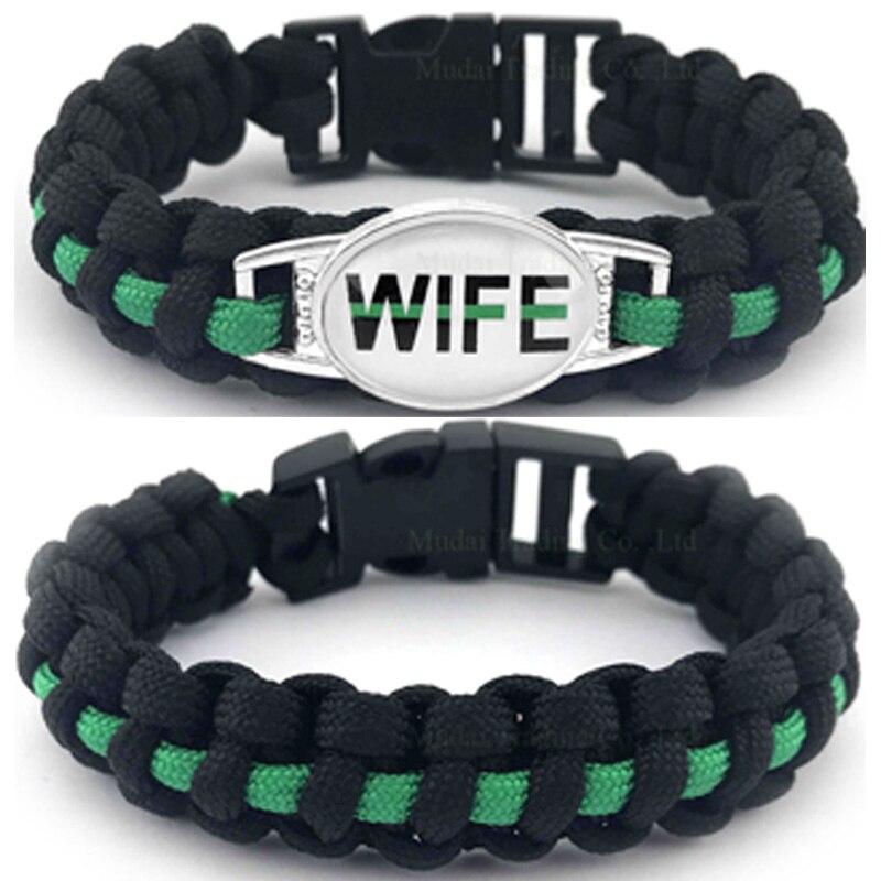 (10 PCS/lot)THIN Gree LINE LIVES MATTER Paracord Survival Wife Mom Bracelet Deputy Sister Bracelets For Women Men Jewelry