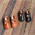2016 primavera niños niñas zapatos de la princesa de cuero genuino outsole suave Mocasines t-zapatos de un solo