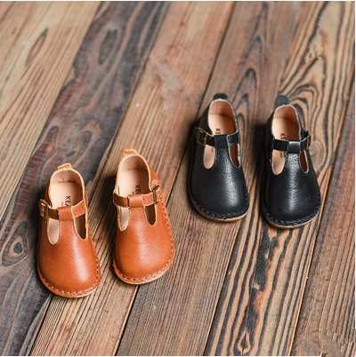 ФОТО 2016 spring children genuine leather shoes girls princess shoes soft outsole moccasins t-shoes single shoes
