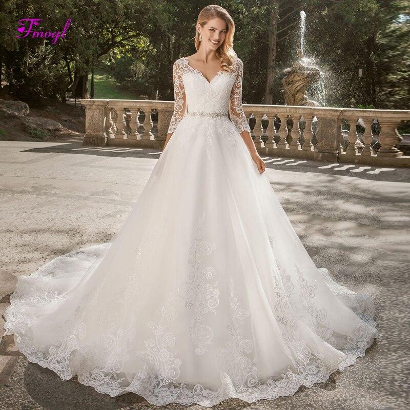 Fmogl Sexy V neck Appliques Button A Line Princess Wedding Dress 2019 Luxury Crystal Sashes Vintage